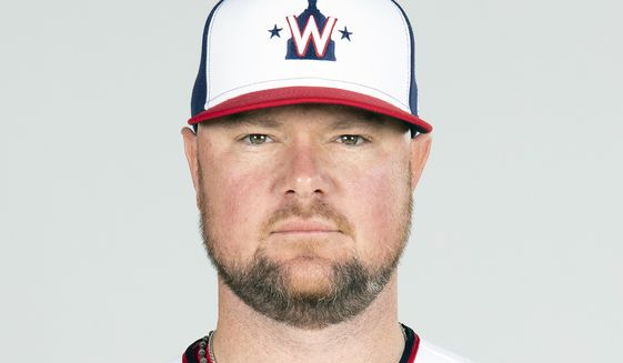 FILE - This is a Friday, Feb. 26, 2021, photo showing Jon Lester of the Washington Nationals baseball team. Washington Nationals left-hander Jon Lester will have surgery to have a thyroid gland removed, manager Dave Martinez said Wednesday, March 3, 2021. Lester will leave spring training in West Palm Beach, Florida, and fly to New York for the procedure. (Mary DeCicco/MLB Photos via AP, Pool)