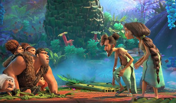 """The Croods meet the Bettermans and their ultra-colorful world in """"The Croods: The New Age,"""" now available on 4K Ultra HD from Universal Studios Home Entertainment."""