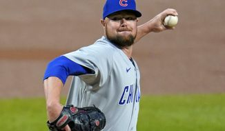 FILE - Then-Chicago Cubs starting pitcher Jon Lester delivers during the first inning of a baseball game against the Pittsburgh Pirates in Pittsburgh, in this Monday, Sept. 21, 2020, file photo. Washington Nationals left-hander Jon Lester will have surgery to have a thyroid gland removed, manager Dave Martinez said Wednesday, March 3, 2021. Lester will leave spring training in West Palm Beach, Florida, and fly to New York for the procedure.(AP Photo/Gene J. Puskar, File)