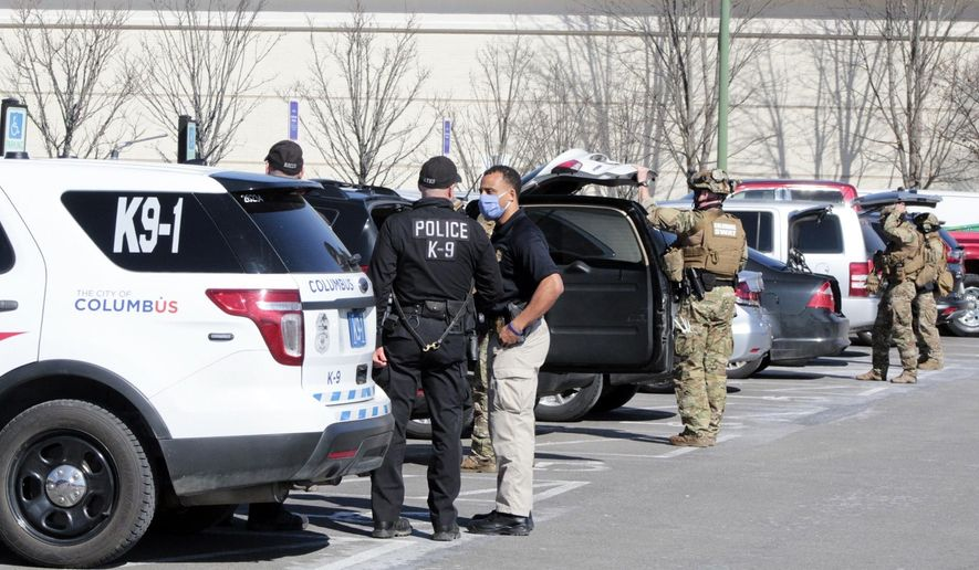 Polaris Fashion Place was evacuated after there were reports of shots fired early Wednesday, March 3, 2021, in Columbus, Ohio. (Dean Narciso/The Columbus Dispatch via AP)