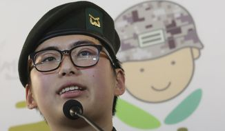 FILE - In this Jan. 22, 2020 file photo, South Korean army Sergeant Byun Hui-su speaks during a press conference at the Center for Military Human Right Korea in Seoul, South Korea. Byun, South Korea's first known transgender soldier, who protested the military's decision last year to discharge her for undergoing gender reassignment surgery was found dead at her home on Wednesday, March 3, 2021. (AP Photo/Ahn Young-joon, File)