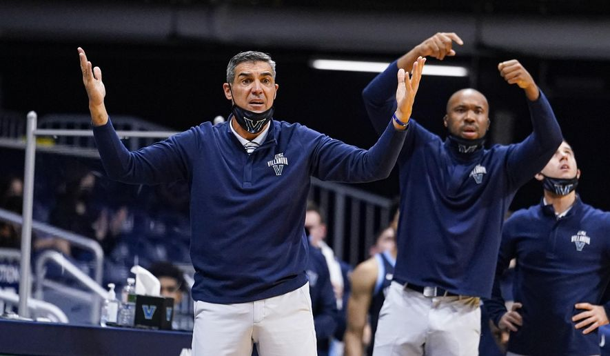 Villanova head coach Jay Wright reacts to a call in the second half of an NCAA college basketball game against Butler in Indianapolis, Sunday, Feb. 28, 2021. (AP Photo/Michael Conroy)