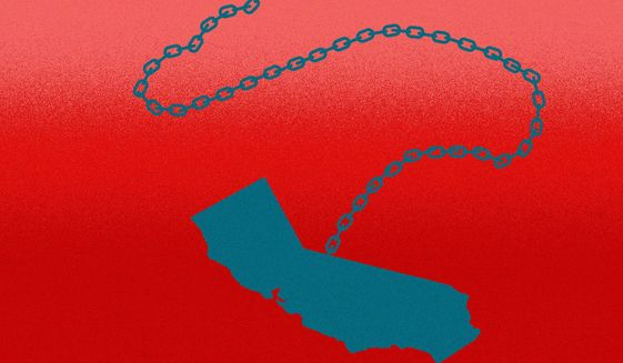 Blue California and another GOP/Republican red tide? illustration by Linas Garsys / The Washington Times