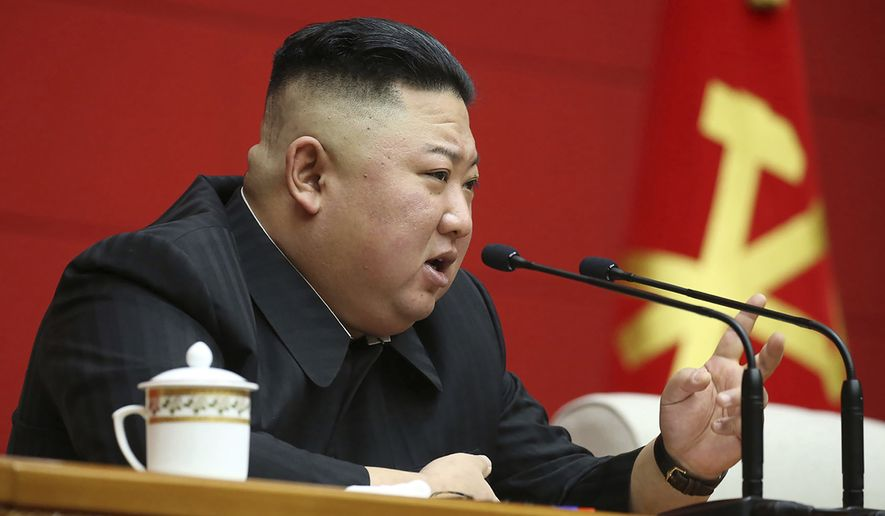 In this photo provided by the North Korean government, North Korean leader Kim Jong Un delivers a speech during a workshop of chief secretaries of city and county committees of the ruling Workers' Party in Pyongyang, North Korea, Thursday, March 4, 2021.  Independent journalists were not given access to cover the event depicted in this image distributed by the North Korean government. The content of this image is as provided and cannot be independently verified. (Korean Central News Agency/Korea News Service via AP)