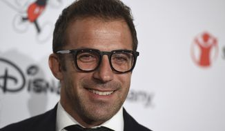 FILE - In this Oct. 2, 2019, file photo, Alessandro Del Piero arrives at Save the Children's Centennial Celebration: Once in a Lifetime event in Beverly Hills, Calif. The former Italy and Juventus star who retired after the 2014 season will debut on ESPNFC this Saturday during postgame coverage of the Serie A match between Juventus and Lazio. (Photo by Jordan Strauss/Invision/AP, File)