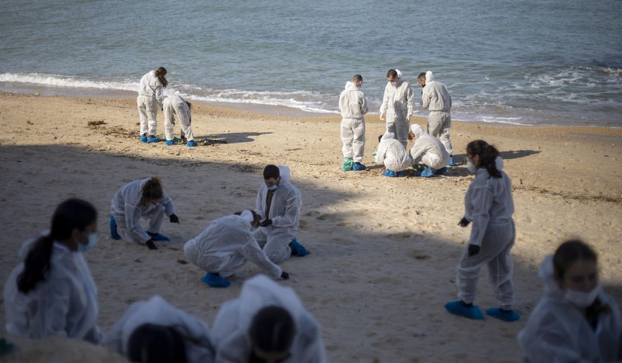 FILE - In this Monday, Feb. 22, 2021 file photo, Israeli soldiers wearing protective suits clean tar from a beach after an oil spill in the Mediterranean Sea in Sharon Beach Nature Reserve, near Gaash, Israel. Israeli authorities said they believed a tanker suspected of smuggling oil from Iran to Syria was responsible for spilling tons of crude into the Mediterranean last month, causing one of Israel's worst environmental disasters. (AP Photo/Ariel Schalit, File)