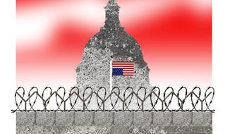 Illustration on the fortification of the Capitol by Alexander Hunter/The Washington Times