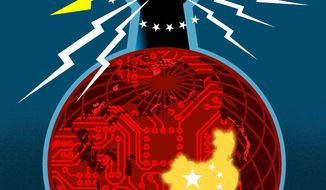 Illustration China and the power grid by Linas Garsys\The Washington Times