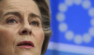 FILE - In this Thursday, Feb. 25, 2021 file photo, European Commission President Ursula von der Leyen speaks during a media conference in Brussels. In a sign of goodwill to rebuild trans-Atlantic relations, the European Union and the United States have decided to suspend tariffs used in the longstanding Airbus-Boeing dispute for a four-month period, EU Commission President Ursula von der Leyen said on Friday, March 5, 2021 after a remote conversation with U.S. President Joe Biden. (Olivier Hoslet, Pool via AP, Pool)
