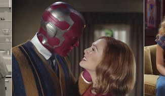 """This combination of images released by Disney+ shows Elizabeth Olsen and Paul Bettany in various scenes from """"WandaVision."""" (Disney+ via AP)"""