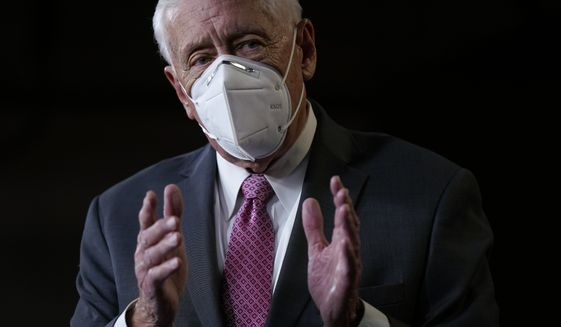 House Majority Leader Steny Hoyer of Md., speaks during a news conference before participating in the House Democratic Issues Conference on Capitol Hill in Washington, Tuesday, March 2, 2021. (AP Photo/Patrick Semansky)