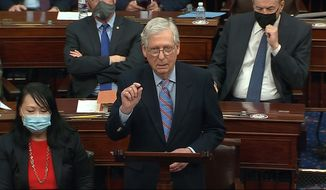 In this image from video, Senate Minority Leader Mitch McConnell of Ky., speaks before the final vote on the Senate version of the COVID-19 relief bill in the Senate at the U.S. Capitol in Washington, Saturday, March 6, 2021. (Senate Television via AP)  **FILE**