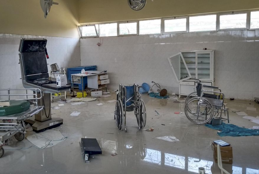 """A medical clinic that was looted and vandalized in Zana, is seen in the Tigray region of northern Ethiopia Tuesday, Feb. 9, 2021. The United Nations in its latest humanitarian report on the situation in Tigray says the """"humanitarian situation continues to deteriorate"""" as fighting intensifies across the northern region. (Medecins Sans Frontieres via AP)"""