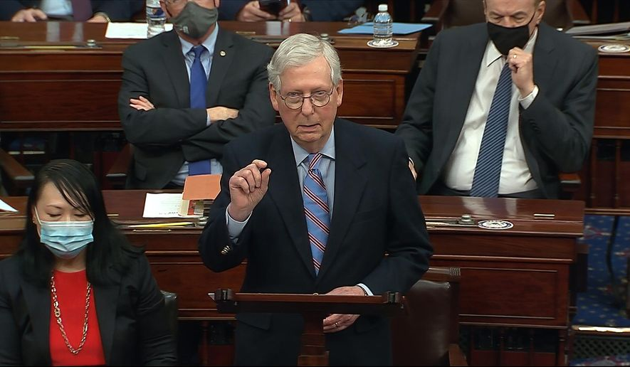 In this image from video, Senate Minority Leader Mitch McConnell of Ky., speaks before the final vote on the Senate version of the COVID-19 relief bill in the Senate at the U.S. Capitol in Washington, Saturday, March 6, 2021. (Senate Television via AP) ** FILE **