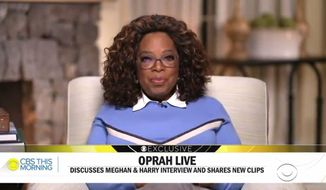 """In this video grab issued Monday, March 8, 2021 by CBS This Morning, Oprah Winfrey discusses her interview with Prince Harry and Meghan, Duchess of Sussex.  """"Oprah with Meghan and Harry: A CBS Primetime Special aired March 7.  (CBS This Morning via AP)"""