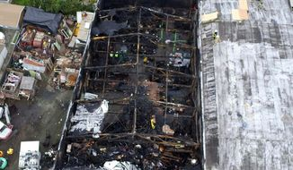 FILE - This undated file photo provided by the City of Oakland shows the burned warehouse after the deadly fire that broke out on Dec. 2, 2016, in Oakland, Calif. Family members of the 36 people killed when a fire broke out at a San Francisco warehouse during a music event urged a judge Monday, March 8, 2021, to impose the toughest sentence for Derick Almena, the master tenant of the building, or reject a plea deal he struck with prosecutors to avoid a second trial. (City of Oakland via AP, File)