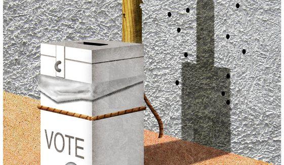 Illustration on killing the vote by Alexander Hunter/The Washington Times