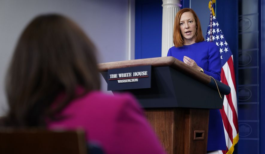 White House press secretary Jen Psaki speaks during a press briefing at the White House, Tuesday, March 9, 2021, in Washington. (AP Photo/Patrick Semansky)