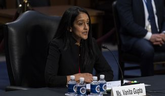 Vanita Gupta speaks during a Senate Judiciary Committee hearing to examine her nomination to be associate attorney general, on Capitol Hill, Tuesday, March 9, 2021, in Washington. (AP Photo/Alex Brandon) **FILE**