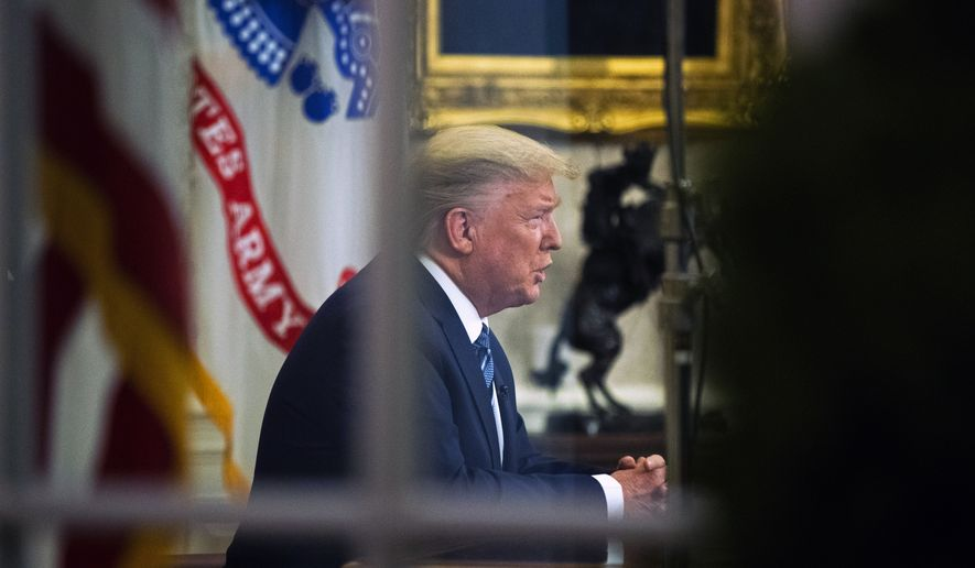 President Donald Trump addresses the nation from the Oval Office about the coronavirus outbreak at the White House, Wednesday, March 11, 2020, in Washington. (AP Photo/Manuel Balce Ceneta)