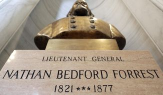 FILE - In this Wednesday, July 1, 2020, file photo, the bust of Nathan Bedford Forrest is displayed in the state capitol  in Nashville, Tenn. On Tuesday, March 9, 2021, the Tennessee Historical Commission voted 25-1 to move the Nathan Bedford Forrest bust to the Tennessee State Museum. The committee said that facility is better equipped to provide the appropriate context for the bust. (AP Photo/Mark Humphrey, File)