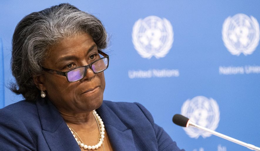 U.S. Ambassador to the United Nations, Linda Thomas-Greenfield speaks to reporters during a news conference, Monday, March 1, 2021, at United Nations headquarters. (AP Photo/Mary Altaffer) **FILE**