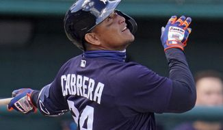 Detroit Tigers' Miguel Cabrera singles to right field off New York Yankees starting pitcher Deivi Garcia during the second inning of a spring training exhibition baseball game at Joker Marchant Stadium in Lakeland, Fla., Tuesday, March 9, 2021. (AP Photo/Gene J. Puskar)