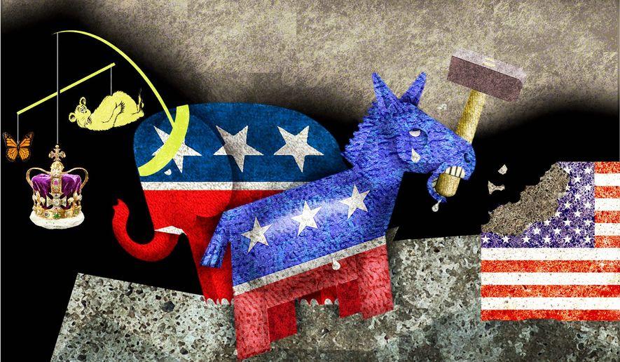 Illustration comparing Republican and Democrat agendas by Alexander Hunter/The Washington Times