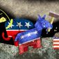 Illustration comparing Republican and Democrat agendas by Alexander Hunter/The Washington Times