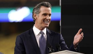 California Gov. Gavin Newsom delivers his State of the State address from Dodger Stadium Tuesday, March 9, 2021, in Los Angeles. (AP Photo/Mark J. Terrill)