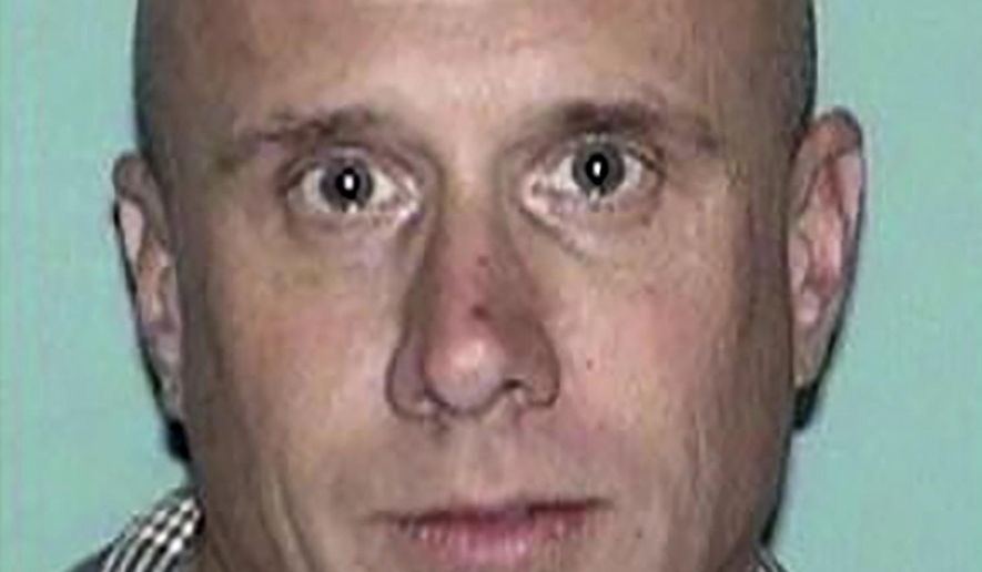 This undated photo released by the Gloucester County Prosecutor's Office shows Sean Lannon. Authorities on Wednesday, March 10, 2021, searched for Lannon, a man wanted for questioning in a homicide in New Jersey and in the slayings of four people whose bodies were found inside a vehicle parked in a New Mexico airport garage.  (Gloucester County Prosecutor's Office via AP)