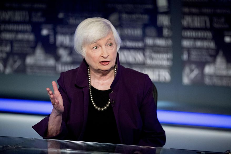 In this Aug. 14, 2019, file photo former Fed Chair Janet Yellen speaks with Fox Business Network guest anchor Jon Hilsenrath in the Fox Washington bureau in Washington. (AP Photo/Andrew Harnik, File)