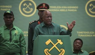 FILE - In this July 11, 2020 file photo, Tanzania's President John Magufuli speaks at the national congress of his ruling Chama cha Mapinduzi (CCM) party in Dodoma, Tanzania. Opposition politicians on Wednesday March 10 2021, are raising questions about the health of Tanzania's COVID-19-denying president John Magufuli, as he has not been seen in public for more than a week and there has been no responce to questions from The Associated Press about Magufuli's health and whereabouts.(AP Photo, File)