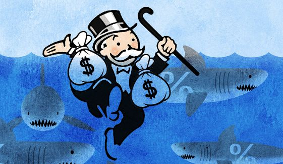 Illustration on a wealth tax by Alexander Hunter/The Washington Times