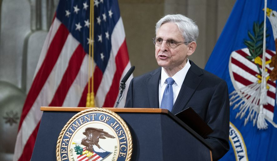 President Joe Biden's pick for attorney general Merrick Garland, addresses staff on his first day at the Department of Justice, Thursday, March 11, 2021,  in Washington. (Kevin Dietsch/Pool via AP)  **FILE**
