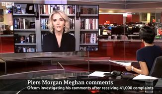 Journalist Megyn Kelly talks with the BBC about former Good Morning Britan co-host Piers Morgan and media regulators who cracked down on him after his recent criticism of Meghan Markle, March 10, 2021. (Image: BBC video screenshot)