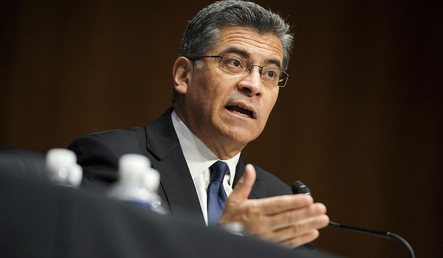 Xavier Becerra testifies during a Senate Finance Committee hearing on his nomination to be secretary of Health and Human Services on Capitol Hill in Washington, Wednesday, Feb. 24, 2021. (Greg Nash/Pool via AP) **FILE**
