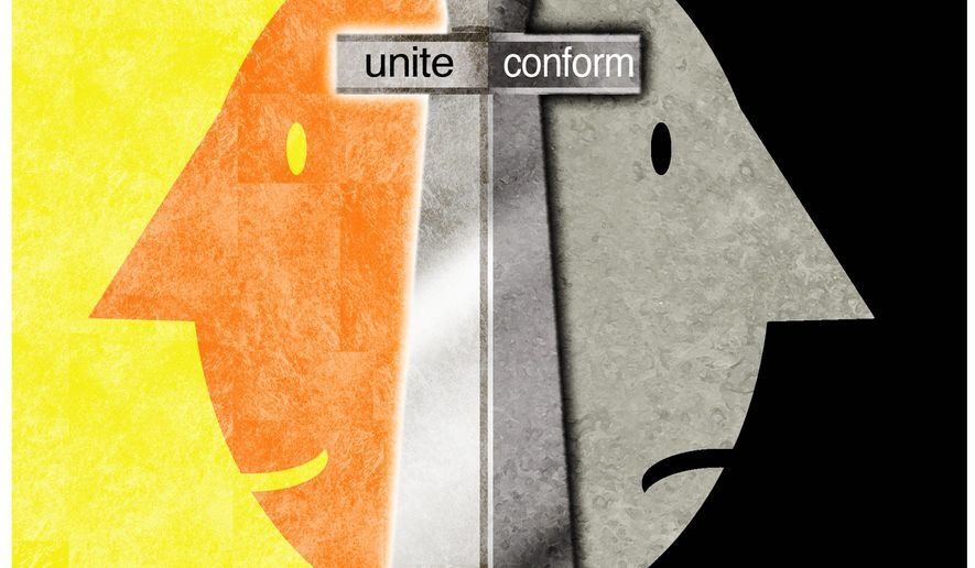 Illustration on the dangers of conformity by Alexander Hunter/The Washington Times