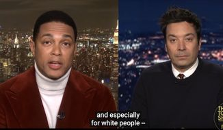 "CNN's Don Lemon laments the difficulty of having racial conversation in the U.S., particularly among ""White people,"" March 11, 2021. (Image: ""The Tonight Show With Jimmy Fallon"" video screenshot)"