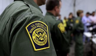 In this Thursday, May 2, 2019, file photo, Border Patrol agents hold a news conference prior to a media tour of a new U.S. Customs and Border Protection temporary facility near the Donna International Bridge in Donna, Texas. President Joe Bidens administration is refusing to allow lawyers who inspect facilities where immigrant children are detained to enter a Border Patrol tent in Texas where agents are holding hundreds of youths. The attorneys say they were allowed to speak to children at the facility in Donna on Thursday, March 11, 2021, but were denied the chance to see the areas where the youths were being held. (AP Photo/Eric Gay, File)