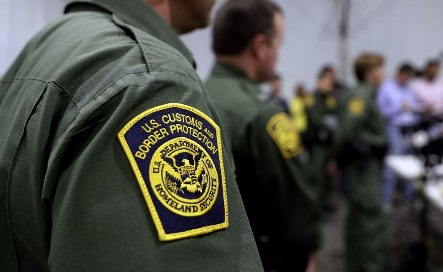 In this Thursday, May 2, 2019, photo, Border Patrol agents hold a news conference prior to a media tour of a new U.S. Customs and Border Protection temporary facility near the Donna International Bridge in Donna, Texas. (AP Photo/Eric Gay) **FILE**