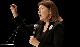 FILE - IN this Nov. 8, 2016 file photo, Democratic senatorial candidate U.S. Rep. Ann Kirkpatrick, D-Ariz., speaks to supporters during an election night party in Phoenix. Kirkpatrick, a five-term Arizona Democrat, announced Friday, March 12, 2021, she won't run for reelection in 2022.  (AP Photo/Matt York, File)