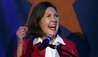 In this Nov. 6, 2018 file photo, Democrat Ann Kirkpatrick, candidate for Congressional District 2, gives a victory speech during the Pima County Democratic Party Election Night watch party in Tucson, Ariz. Kirkpatrick, a five-term Arizona Democrat, announced Friday, March 12, 2021, she won't run for reelection in 2022 (Mike Christy/Arizona Daily Star via AP, File)