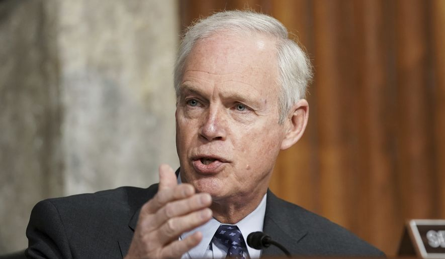 In this March 3, 2021, file photo, Sen. Ron Johnson, R-Wis., speaks during a Senate Committee on Homeland Security and Governmental Affairs and Senate Committee on Rules and Administration joint hearing examining the Jan. 6 attack on the U.S. Capitol in Washington. (Greg Nash/Pool via AP)