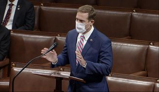 In this image from video, Rep. Ted Budd, R-N.C., speaks on the House floor early Jan. 7, 2021. (House Television via AP) ** FILE **