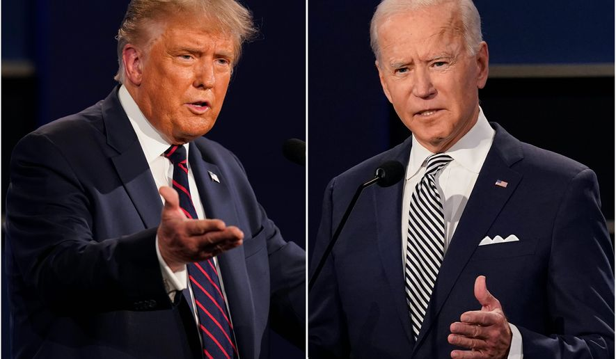 President Biden (right) is facing some criticism for failing to credit former President Donald Trump on the COVID-19 vaccine rollout. However, before taking office, Mr. Biden praised Operation Warp Speed. (Associated Press)