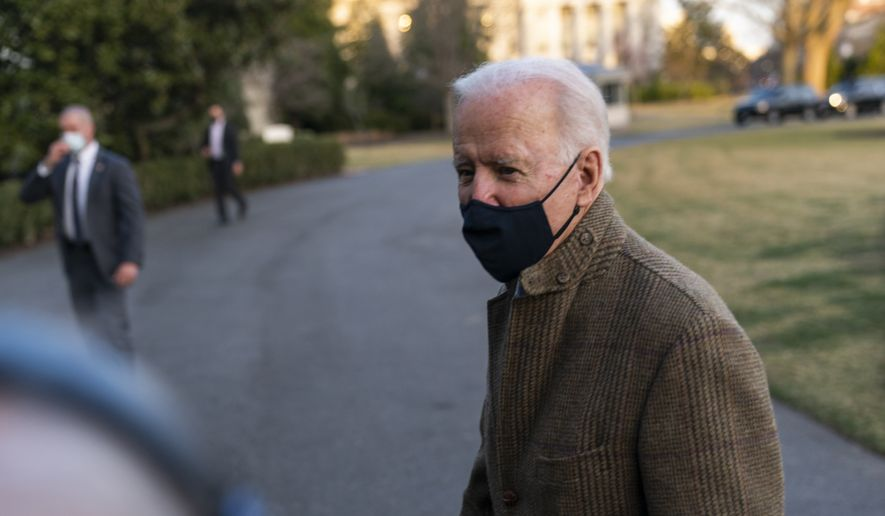 President Joe Biden speaks to the gathered media members upon arrival at the White House in Washington from a weekend trip to Wilmington, Del., Sunday, March 14, 2021. (AP Photo/Manuel Balce Ceneta)