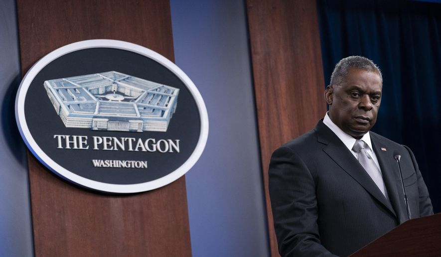 Secretary of Defense Lloyd Austin listens to a question as he speaks during a media briefing at the Pentagon in Washington. (AP Photo/Alex Brandon, File)