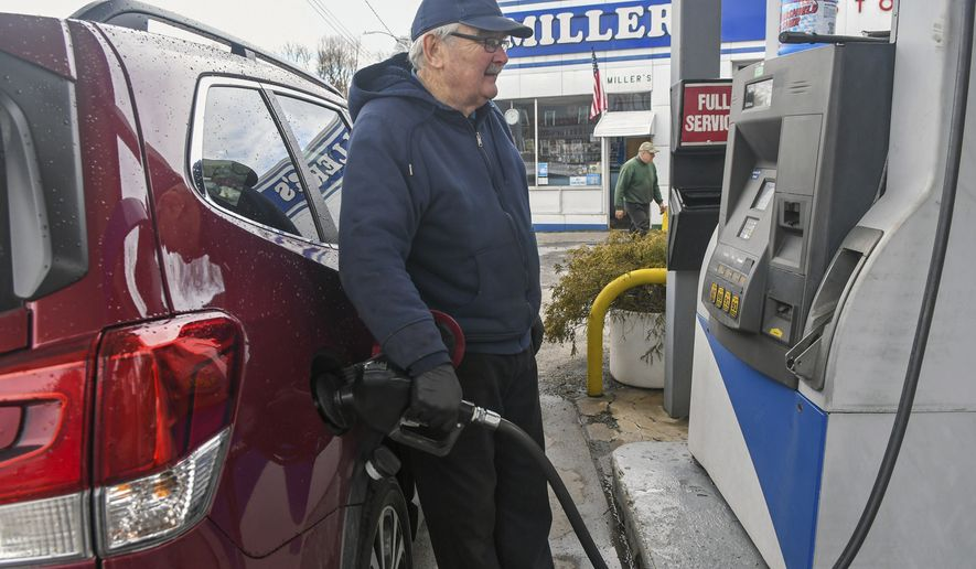Gasoline and diesel prices have jumped nearly 30% since November. The national average for a gallon of regular hit $2.85 Sunday. (Associated Press)
