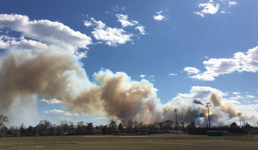 Smoke billows from a brush fire in Lakewood, N.J., that shut down the Garden State Parkway on Sunday, March 14, 2021. (Kevin Shea/NJ Advance Media via AP)